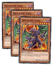 set 3X DRAGO DEL VIZIO Vice Dragon HSRD-IT021 Comune in Italiano YUGIOH