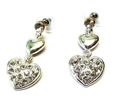 Silver Pink Black Pearl Heart Stud Clip on Magnetic Drop Crystal Gift Earrings 9 - 4 X 2.5cm
