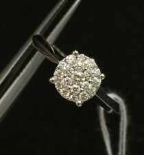 18k Solid White Gold Halo Cluster Ring Diamond 0.30 CT, Size 6.25. Was $1900