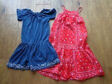 GAP & OSHKOSH girl's EUC sz 5T/5 cotton dresses (2) blue w/embroidery & red