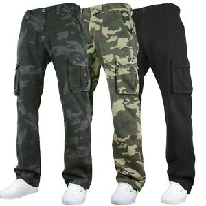 F&H Active Mens Relaxed Fit Camouflage Cargo Pants Combat Multi Pocket Trousers