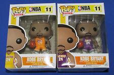 Funko Pop KOBE BRYANT no 24 Set of 2 Yellow & Purple Jersey + Pop Protectors