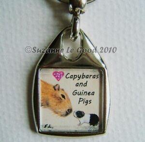Guinea Pig Capybara art Keyring handbag charm painting glitter Suzanne Le Good