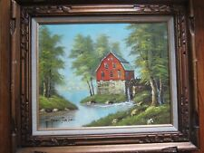 Vintage Estate Framed Signed BRIAN ROCHE Oil on Canvas Painting Watermill Scene