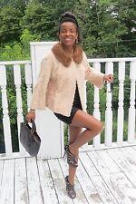 Designer gold cream broadtail lamb & Mink Fur coat, Jacket, Stroller S 0-4/