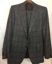 Cesare Attolini Suit Jacket And Pants Gray And Brown Wool Size 38 Regular
