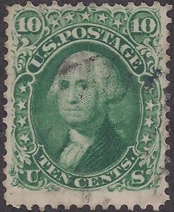 TMM* 1861-62 US 10c Stamp Scott #68 F/VF used/no hinge/light cancel