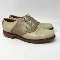 LL Bean Saddle Oxford Shoes 8.5 N Men's  Brown Leather Brogue Lace Dress