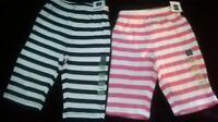New Baby Gap Striped cotton PANTS 0 3 6 month BLUE PINK  NAVY boy girl