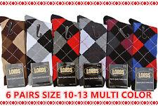 NEW COTTON MEN LORDS ARGYLE STYLE DRESS SOCKS 6 PAIRS SIZE 10-13 MULTI COLOR