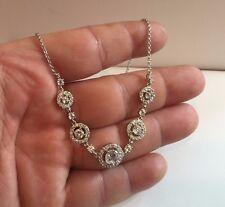 Plata 925 Transparente Círculos Collar con Colgante / 5.50 Ct Laboratorio