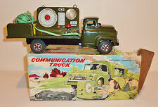 MODERN TOYS Japan Tin Litho Friction + BO 1950s ARMY COMMUNICATIONS TRUCK w/ BOX