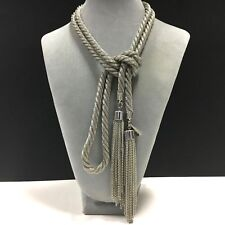 """NEW! Gorgeous CHICO'S LONG 56"""" Twisted Silver Tone MESH TASSEL Necklace DD179o"""