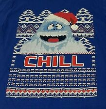 Abominable Snowman Men Christmas Funny Santa Chill Blue T-Shirt Size Large L