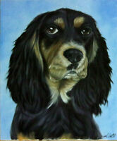 DOG OIL PAINTING PORTRAIT OF A COCKER SPANIEL ON 8X10 CANVAS PANEL BOARD