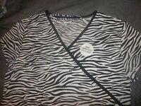 Black & White Zebra Print Medical Nurse Scrub Top Shirt Women Size 1X, 3 pockets