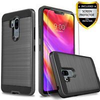 For LG G7 ThinQ Case, Shockproof Phone Cover + Tempered Glass Protector