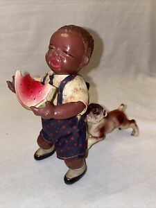 Poor Pete Celluloid Wind Up Dog Biting Boy With Watermelon Works