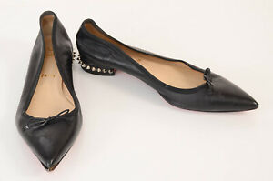 Christian Louboutin black 10 40 leather bow spike stud ballet flat shoe $645