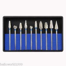 10 Pcs/Box Tungsten Carbide Steel Dental Burs Burrs Lab Tooth Drill 2.35mm