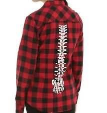 (XS) Hot Topic Red & Black Plaid Spine Back Button Up Flannel