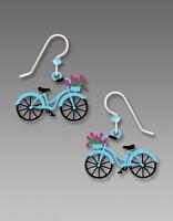 Sienna Sky BIKE with Flowers in Basket EARRINGS Ladies Bicycle STERLING + Box