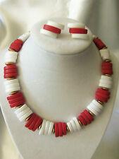 CHUNKY Vintage Set WHITE & RED Rectangular Shape Tile Necklace & Earrings 13EN87
