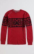 Men's Volcom Spirit Animal L/S Waffle Thermal Raglan Shirt Burgundy Red Size M