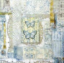 Hoja de papel de arroz Decoupage Scrapbooking Encaje Mariposas Turquesa