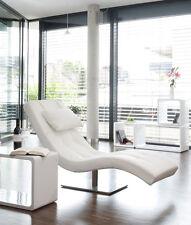 Extravagante Design Liege Weiss Relaxliege Kunstleder Gestell vernickelt Neu