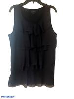 Womens Ann Taylor Loft navy blue sheer ruffle tank top shirt blouse M Medium