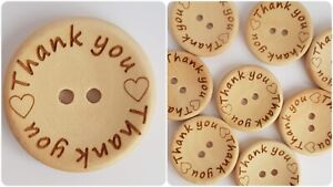 LUXURY WOODEN THANK YOU BUTTONS - 30mm, THANKS, GRATITUDE, LIGHT WOOD, NATURAL