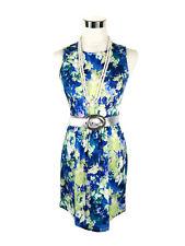 EZRA Dress - Retro Vintage Style Floral Zip Blue Green White Stretch - S/6/8