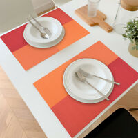 "Placemats PVC Heat Resistant Table Mats Woven Washable Red 11.8"" x17.7"" Set of 4"