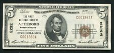 1929 $5 THE FIRST NATIONAL BANK OF ATTLEBORO, MA NATIONAL CURRENCY CH. #2232