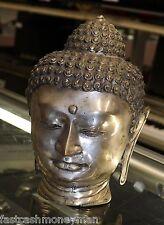 "VINTAGE 10 1/2"" SILVER PLATED SANDCAST METAL BUDDHA HEAD FIGURE ESTATE FIND"