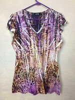 Apt 9 Jersey Top Empire Waist Lightweight  Airbrushed Tie Dye Print Size L