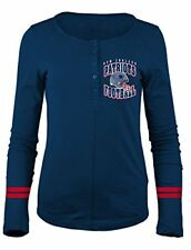 NFL New England Patriots Women's Long Sleeve Scoop Neck Henley Shirt, Small Navy