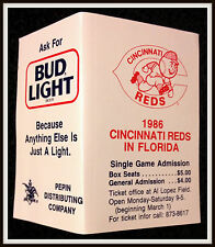 1986 CINCINNATI REDS BUDWEISER BEER SPRING TRAINING BASEBALL POCKET SCHEDULE