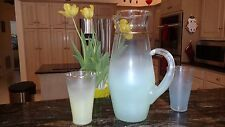 Vintage BLENDO West Virginia Glass Frosted Lemonade Pitcher and two glasses