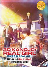 DVD Anime 3D Kanojo: Real Girl Season 1+2 (1-24 End) (English)+Live Action Movie