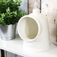 Large 19cm Off White Porcelain Salt Pig Jar Canister Holder Pot Kitchen Storage