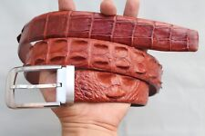 Without Jointed- Red Brown Genuine Alligator, Crocodile Leather Skin Men's Belt