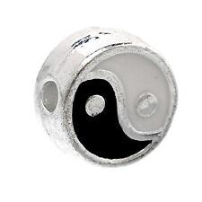 Métal perle spacer, argenté, ying et yang, noir/blanc EMAILLE 7mm 1x