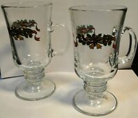 Johnson Brothers Victorian Christmas Irish Coffee Mugs Glasses Set 2 EXCELLENT