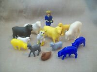 Vintage Plastic Play Set Animals Lot of 14 Sheep Goat Duck Cat Farm Animal 1950s