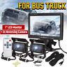 7'' LCD Monitor 2x Reversing Rear View Camera Kit Car Truck Caravan Motorhome