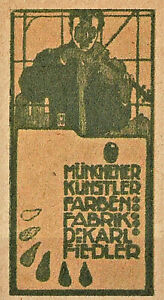 Reklamemarke Münchener Künstler Farben, Fabrik Karl Fiedler, Hohlwein (#26159)
