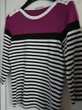 Ladies3/4 SL Cotton Striped Top by Regatta, Sz 14