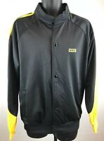 VIntage NIKE TRACK JACKET AF1 Tag Polyester Shiny Black Yellow Mens Sz L